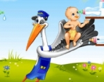 Ajude a cegonha e o bebé neste jogo